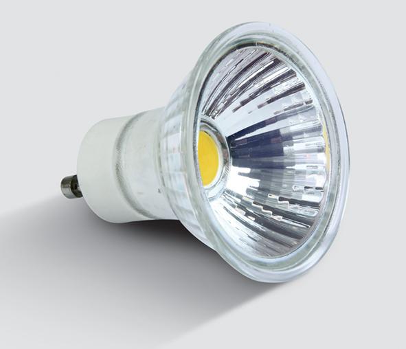 7301G/W, LED 3w COB GU10 WW GLASS 230V