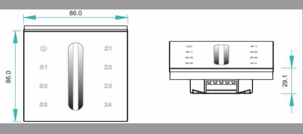 LED RF WiFi Controller Touch MONO - 4 zones - white