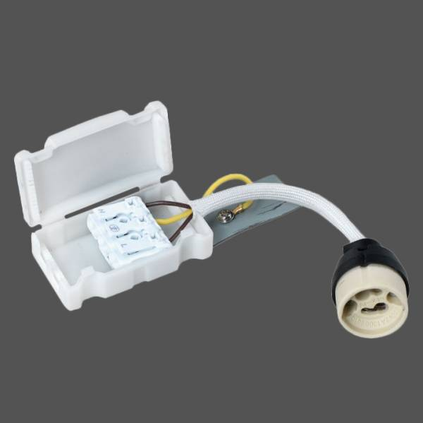 GU10 Socket 230V with plug-in terminal and protective cap