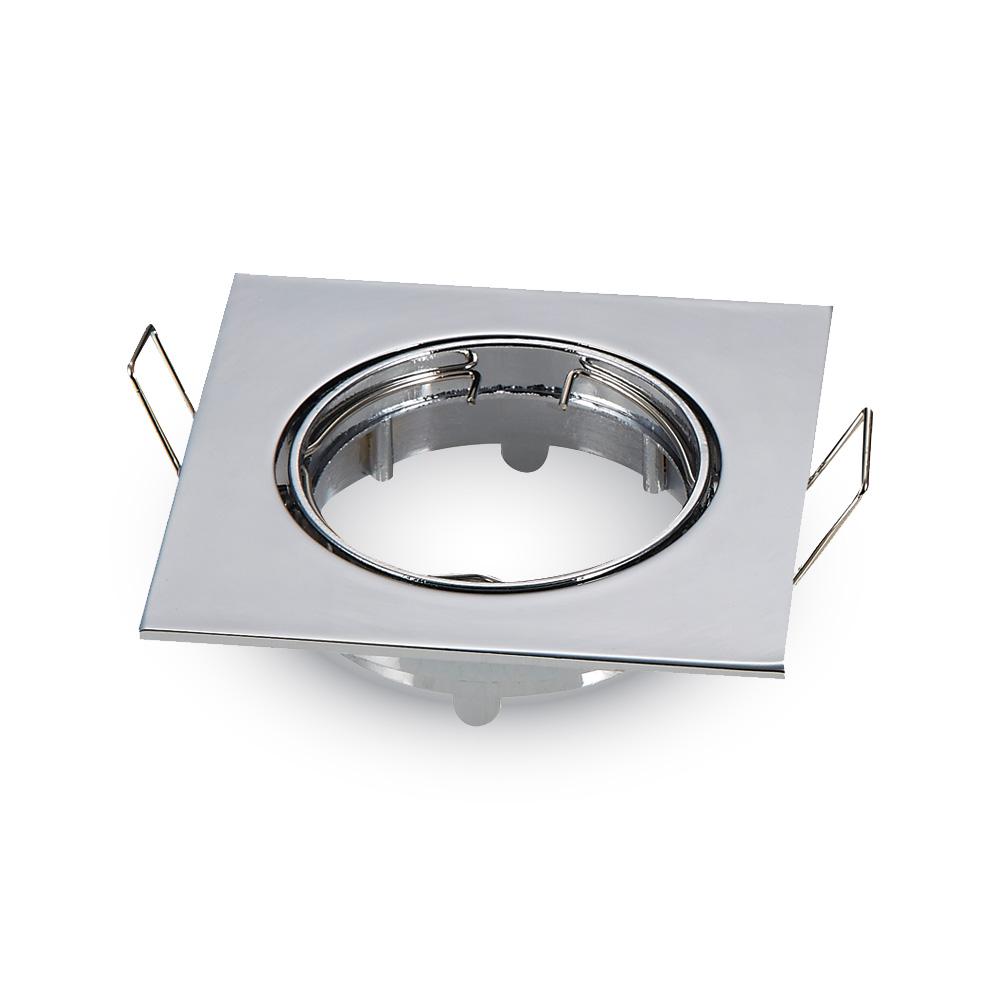 Recessed spot GU10 square, adjustable, zinc, chrome