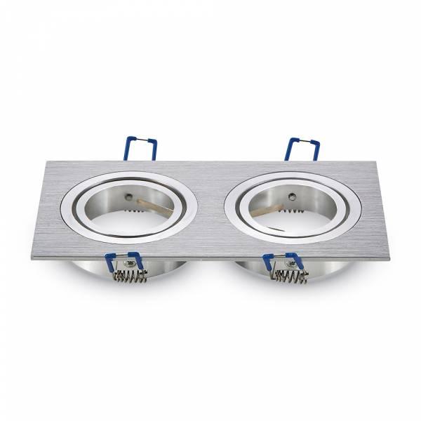 Recessed spot 2xGU10 square, brushed aluminium