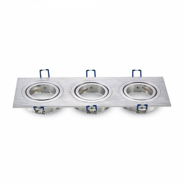 Recessed spot 3xGU10 square, brushed aluminium