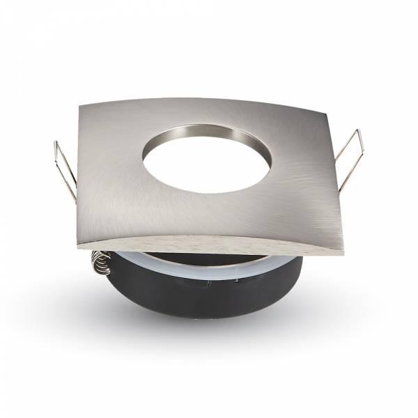 Recessed spot GU10 square IP54, satin nickel
