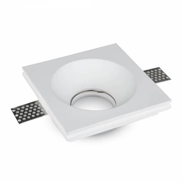 Recessed spot GU10 square, plaster, white, 123x123mm