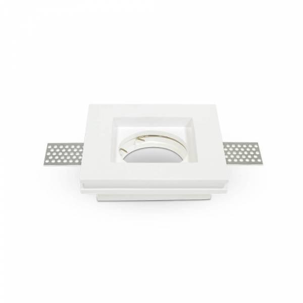 Recessed spot GU10 square, plaster, white, 103x103mm