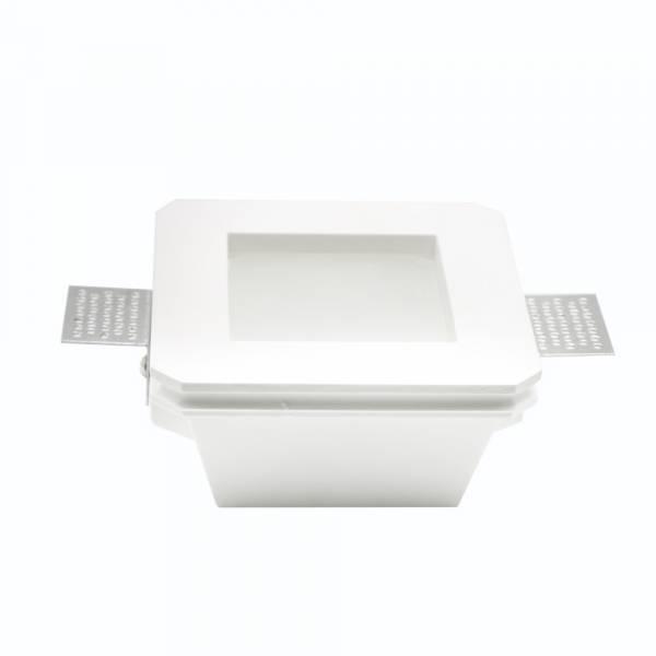 Recessed spot GU10 square, plaster with glas satiniert
