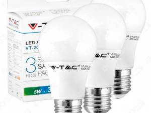 3 PACK,LED Classic 5W E27 A55 Thermoplastic 2700K,420lm,200°