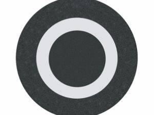 Button plate flat with inscription, black with white zero