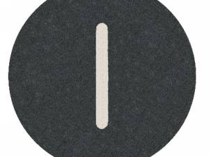 """Button plate flat with inscription, black with white """"I"""""""