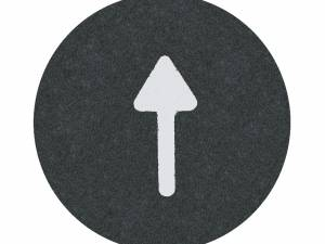 """Button plate flat with inscription, black with white """"Arrow"""""""