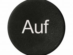 "Button plate flat with inscription black with white ""Auf"""