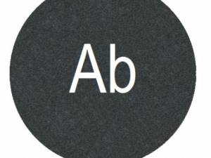 "Button plate flat with inscription black with white ""Ab"""