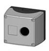 Box, surf. mounted, 1-hole, black/gray