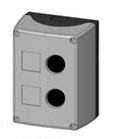 Box, surface mounted, 2-holes, black/grey