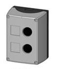 Box, surface mounted, 2-holes, black/grey