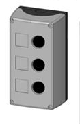 Box, surface mounted,3-holes, black/grey