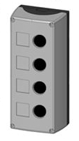 Box, surface mounted, 4-holes, black/grey