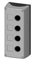 Box, surface mounted, 4-holes, black/grey