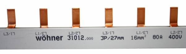 Comb type busbar, 3-pole, bridge type 80A,pitch 27mm,1m long
