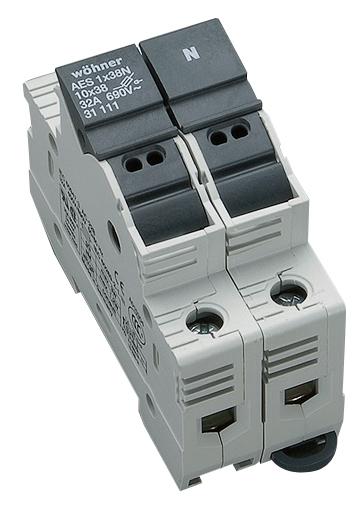 Holder for cylindrical fuse links 32A 690V 1-polig+N