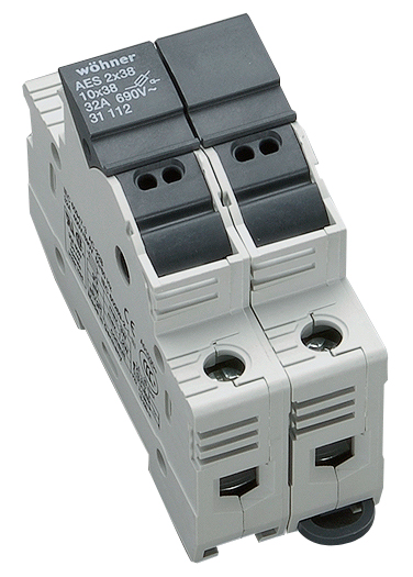 Holder for cylindrical fuse links 32A 690V 2-polig