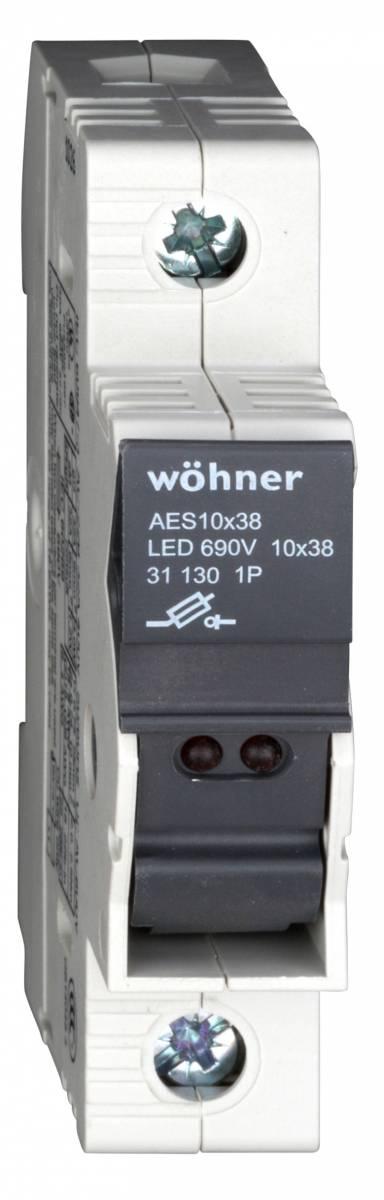 Holder for cylindrical fuse links mit LED 1-polig