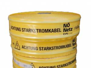 "Cable warning tape printed with ""NÖ Netz"", 100/0,25mm (250m)"