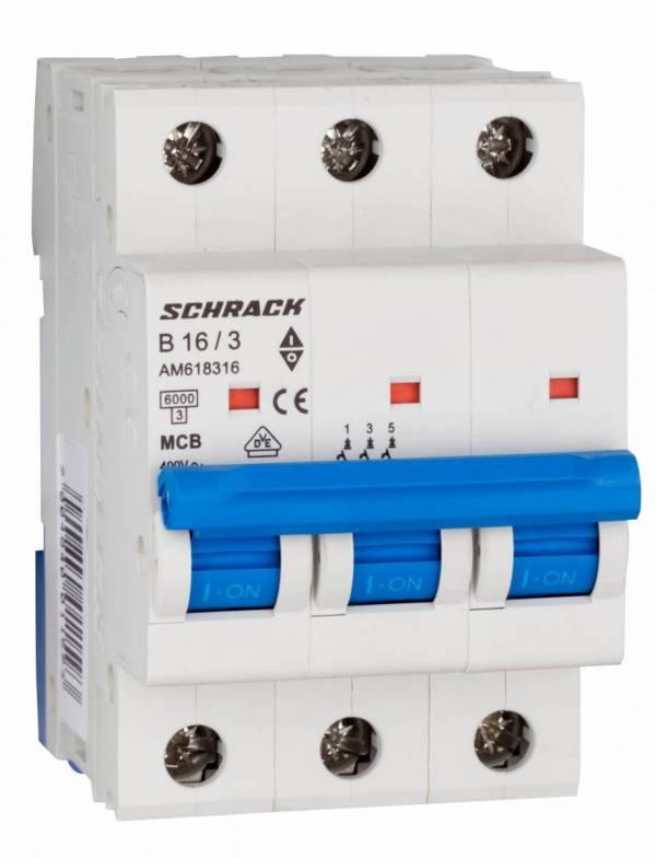 Miniature Circuit Breaker (MCB) AMPARO 6kA, B 16A, 3-pole