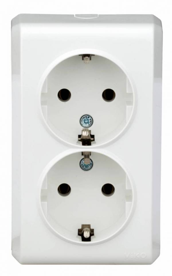 Wall mounted double socket, screw connection, IP20, white