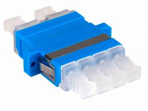 FO Coupler LC-Quad, Singlemode, zirconia, flange, blue