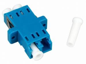 FO Coupler LC-Duplex,Plastic,Singlemode,zirc,flange,blue,ECO