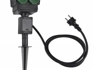 4 socket garden outlet,black,german version,1,5m cable,IP44