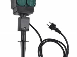 4 socket garden outlet,black,french version,1,5m cable,IP44