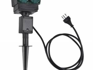4 socket garden outlet,black,swiss version,1,5m cable,IP44