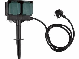 4 socket garden outlet, black, UK version, 1,5m cable, IP44