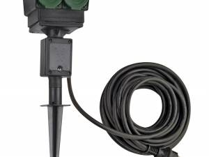 4 socket garden outlet,black,german version,10m cable,IP44