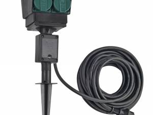 4 socket garden outlet,black,french version,10m cable,IP44