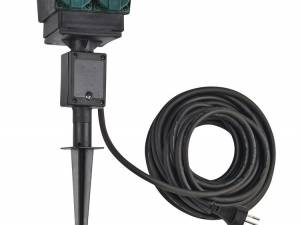 4 socket garden outlet,black,swiss version,10m cable,IP44