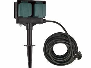 4 socket garden outlet, black, UK version, 10m cable, IP44