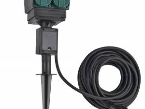 4 socket garden outlet,black,danish version,10m cable,IP44